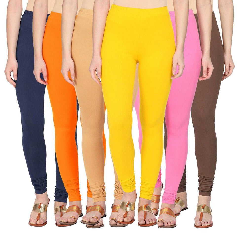 Pack Of six Cotton Lycra Leggings - Free Size