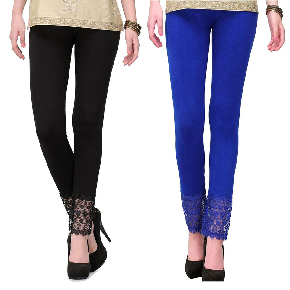 Pack Of Two Viscose Lace Leggings - Free Size