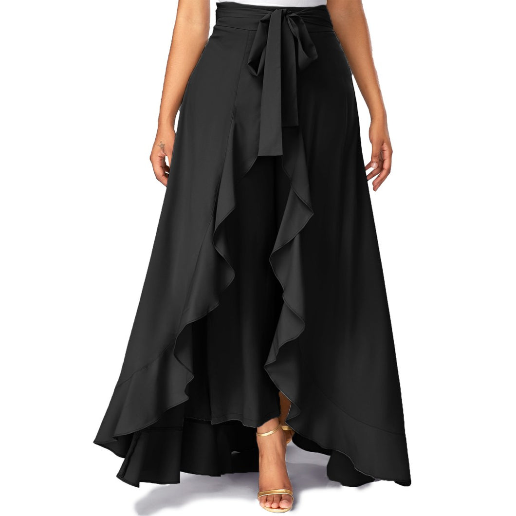 Women Black Solid Ruffled Palazzo With Belt