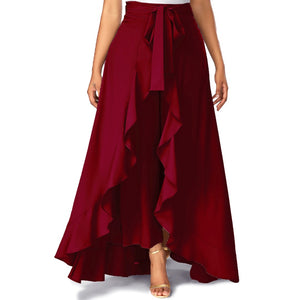 Women Maroon Solid Ruffled Palazzo With Belt