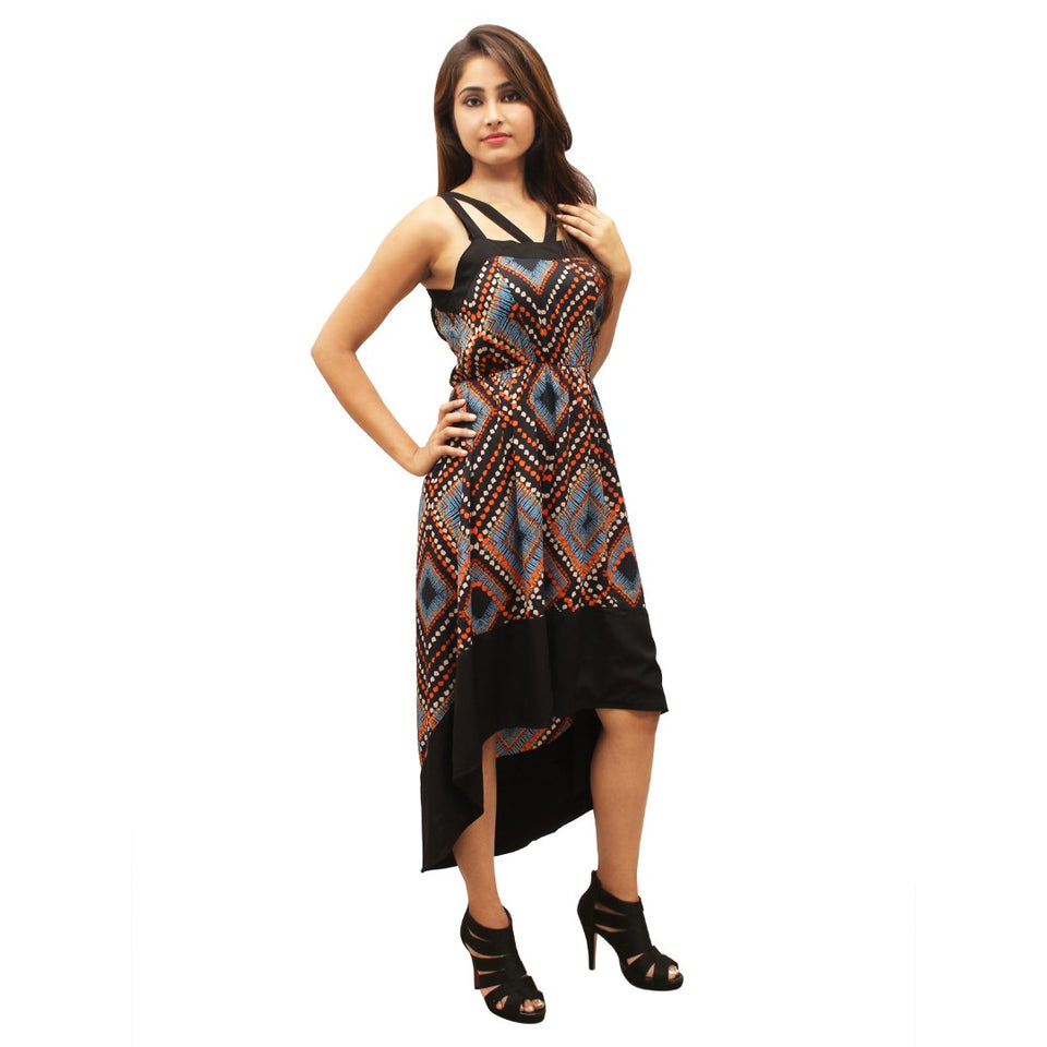 Women Polyester High - Low Multicoloured Dress
