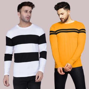 Combo of 2 Colourblocked Round Neck T-shirt