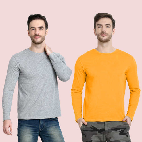 Set of 2 Solid Round Neck T-shirt