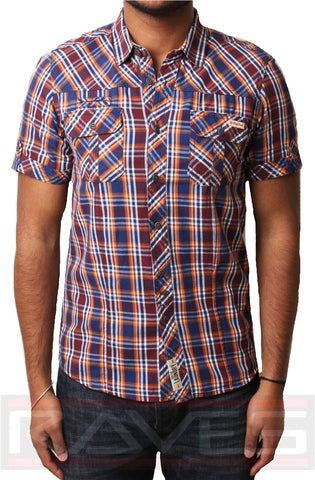 Mens Check Shirt Tokyo Laundry 1H 6149 Casual Short Sleeve Cotton S, M, L & XL