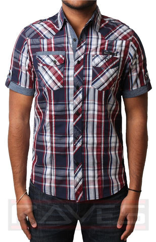 Mens Check Shirt Dissident 1H7541 Casual Short Sleeve Cotton S, M, L, XL & XXL