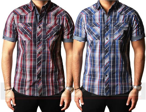 Mens Shirt Dissident Designer Short Sleeve 100% Cotton Check Casual S-XXL GARRIX