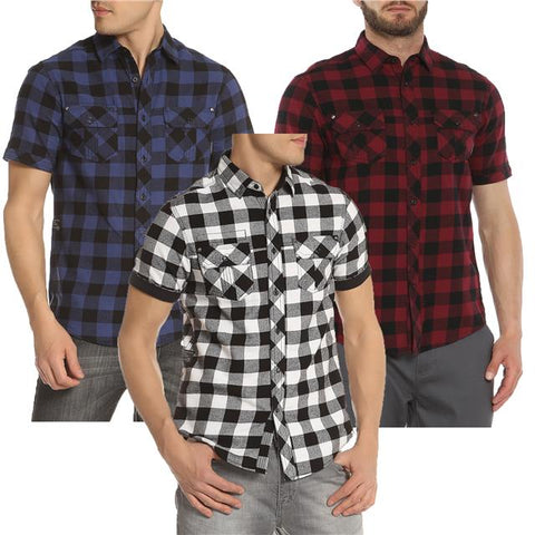 Mens Shirt DISSIDENT Designer Brushed Check Casual Short Sleeve S-XXL PEDROZA