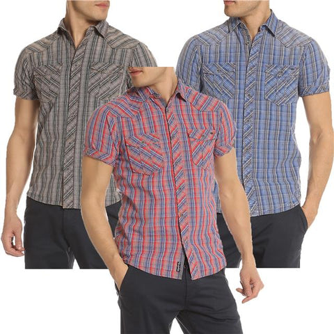 New Mens Tokyo Laundry Uxbridge Short Sleeve Checked Casual Shirt Top Size S-XL