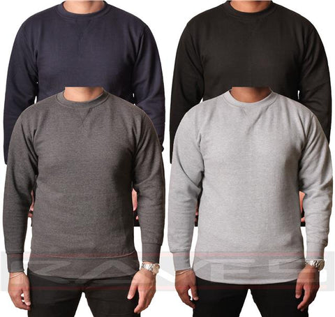 Mens Plain Sweatshirt jumper Sweater Pullover work Casual Leisure top S-XXL