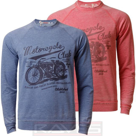 Mens Jumper Sweatshirt Threadbare Motorcyle Crew Neck Burn Out Effect Top