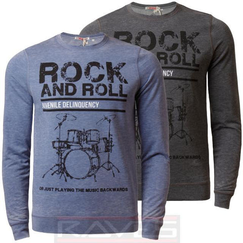 Mens Jumper Sweatshirt Threadbare Rock & Roll Crew Neck Burn Out Effect Top