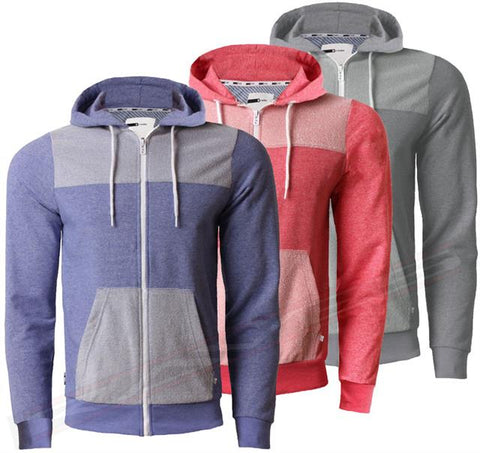 Mens Sweatshirt Top D Code Casual Jumper Hooded Full Zip Marl Effect 1E2481