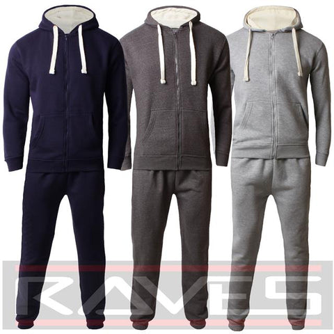 Mens Fleece Full Tracksuit Set Hoodie Top Bottoms Jogging Joggers Gym Trackies