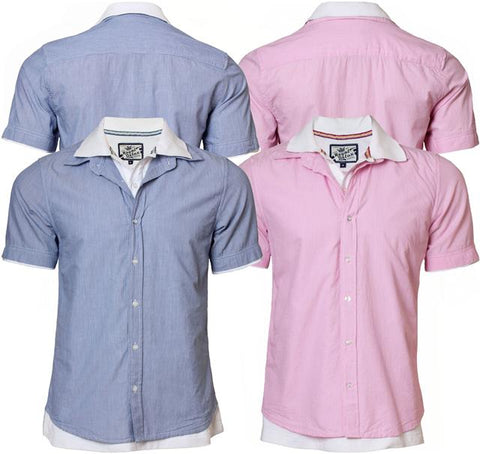 New Mens Royal Delux MH-19509 Casual Short Sleeve Pinstripe Shirt S, M, L & XL