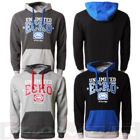 Mens ECKO Fleece RELAY Graphic Hooded Sweatshirt Casual Sports Track Top