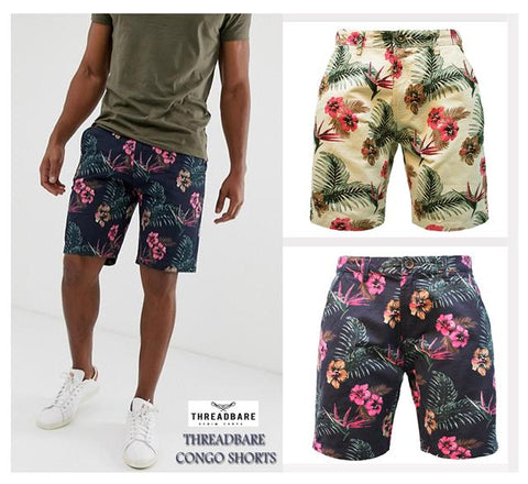 Mens Hawaiian Floral Print Chino Summer Casual Designer Cotton KneeLength Shorts