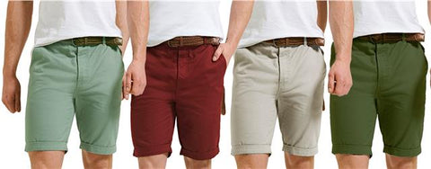 Mens Chino Shorts Threadbare Casual Designer Cotton Knee Length Shorts Belted 2