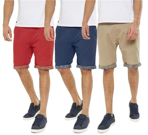 Threadbare Mens Chino Summer Casual Designer Knee Length Shorts BYRON
