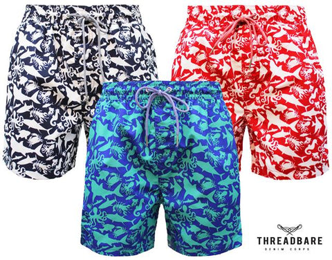 Mens Sea Life Print Summer Beach Mesh Lined Swimwear Shorts Trunks GOWER