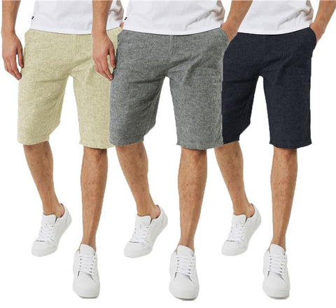 Mens Threadbare Summer Casual Designer Cotton Light Basic Linen Fit Shorts MARCO