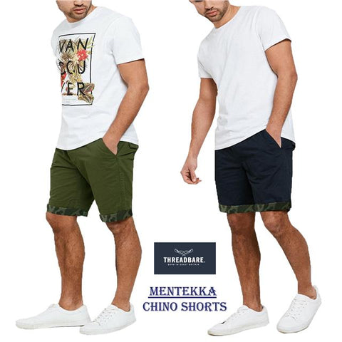 Threadbare Mens Chino Summer Casual Designer Knee Length Shorts MENTEKKA