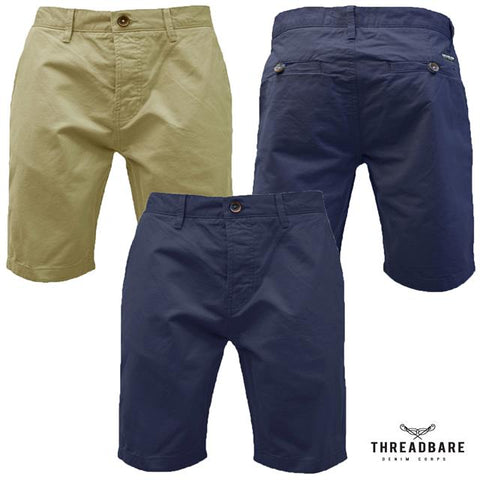 Mens Threadbare Chino Shorts Casual Designer Cotton Twill Shorts PORTLAND
