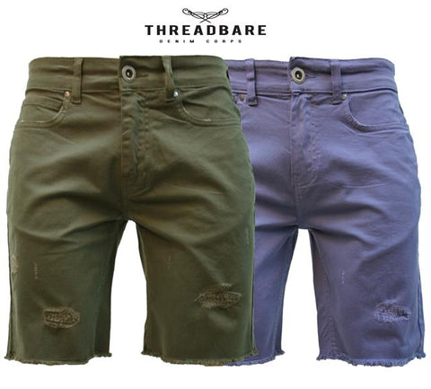 Threadbare Mens Ripped Chino Cotton Summer Casual Designer Knee Length Shorts