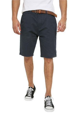 Mens Threadbare Smart Casual Chino Cotton Polkadot Shorts Baker, with free belt