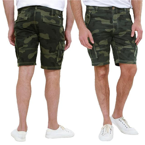 Mens Threadbare Summer Casual Designer Cotton Basic Camo Cargo Shorts Balfour