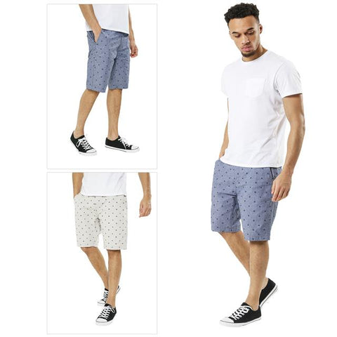 Mens Threadbare Summer Casual Cotton Knee Length Chino Patterned Shorts Cottril