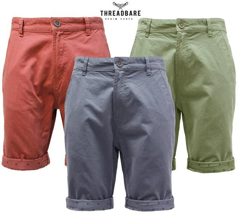 Threadbare Mens Chino Summer Casual Designer Knee Length Shorts OHAKA
