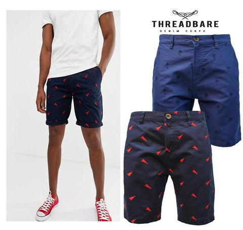 Threadbare Mens Summer Casual Embroidery Detail Designer Knee Length Shorts SOHO