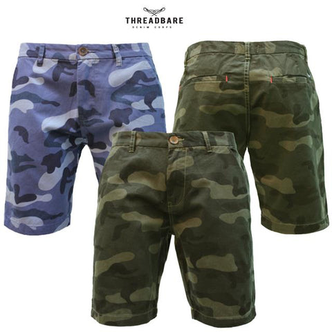 Mens Threadbare Summer Casual Designer Cotton Basic Camo Chino Shorts SYLVESTER