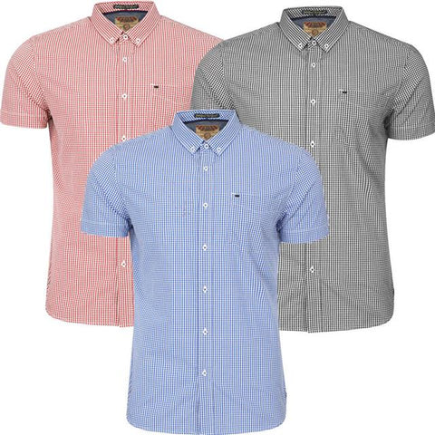 New Mens Tokyo Laundry LORENTE Short Sleeve Button Gingham Shirt Top Size S-XL