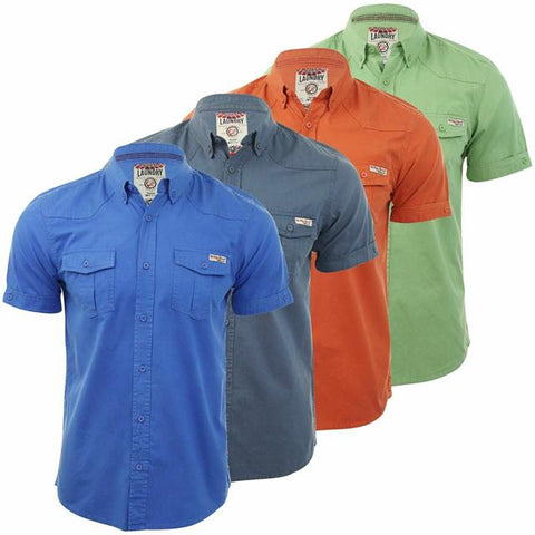 Mens 100% Cotton Summer Shirt Tokyo Laundry 1H3621 Casual Short Sleeve