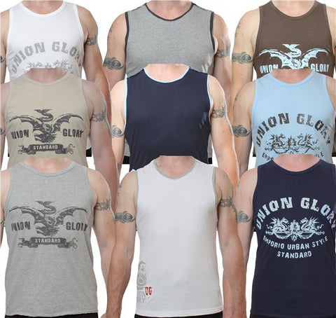 Mens Urban Glory crew neck cotton vests sleeveless t-shirts - 3 pack