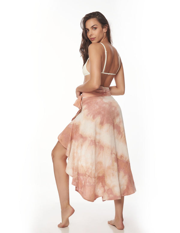 Wave Falda Blush Storm. Falda De Playa Teñido A Mano Color Blush Storm. Entreaguas