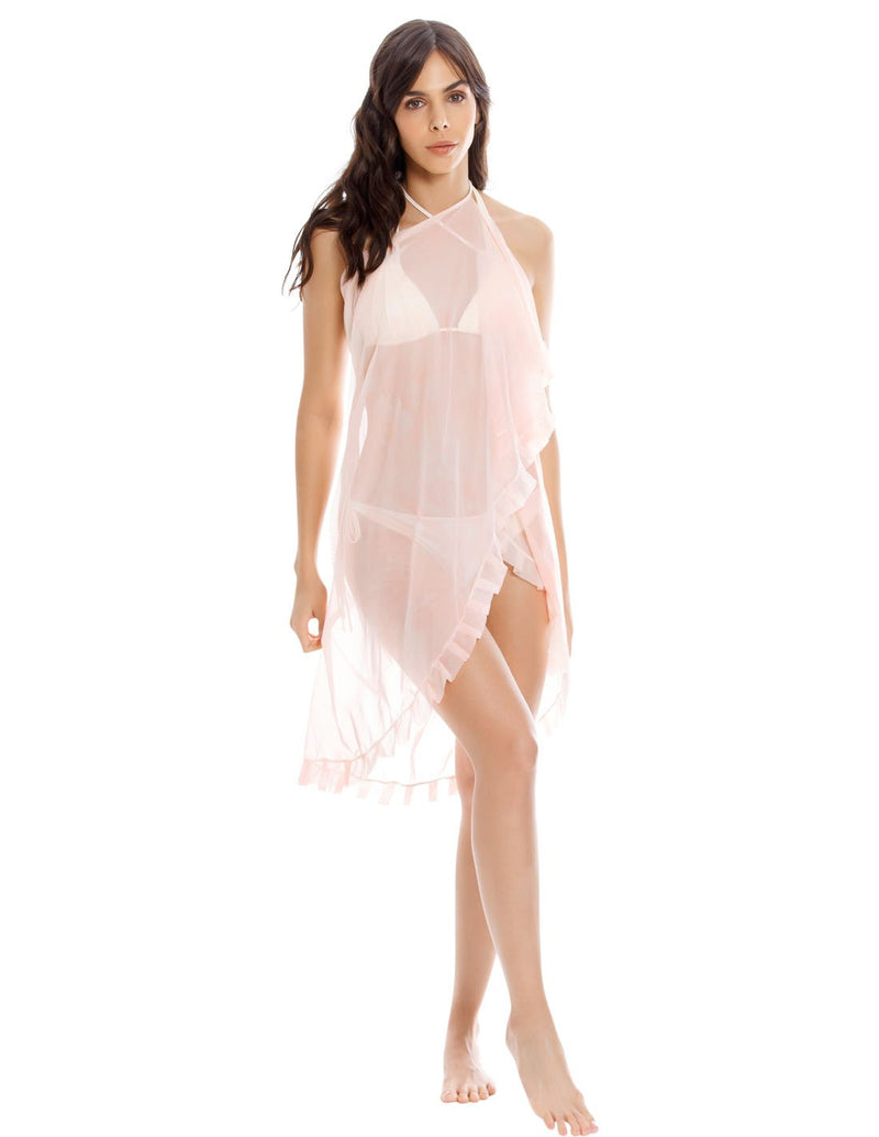 Pareo Wind 1 Spotted Soft Pink. Pareo De Playa Teñido A Mano Color Spotted Soft Pink. Entreaguas