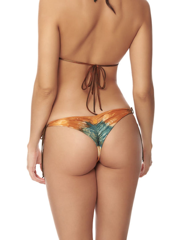 Panty Star Dusk Fall Sky. Panty De Bikini Tie Side Teñido A Mano Color Dusk Fall Sky. Entreaguas
