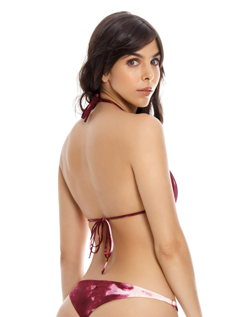 Top Water Top 2. Bikini Top Triagular Teñido A Mano Color Spotted Wild Wine. Entreaguas
