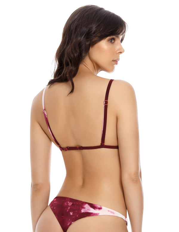 Top Water 3. Bikini Top Triagular Teñido A Mano Color Spotted Wild Wine. Entreaguas
