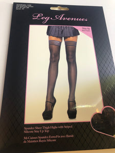 1068 THIGH HIGH WITH STRIPPED SILICONE STAY UP TOP BLK O/S