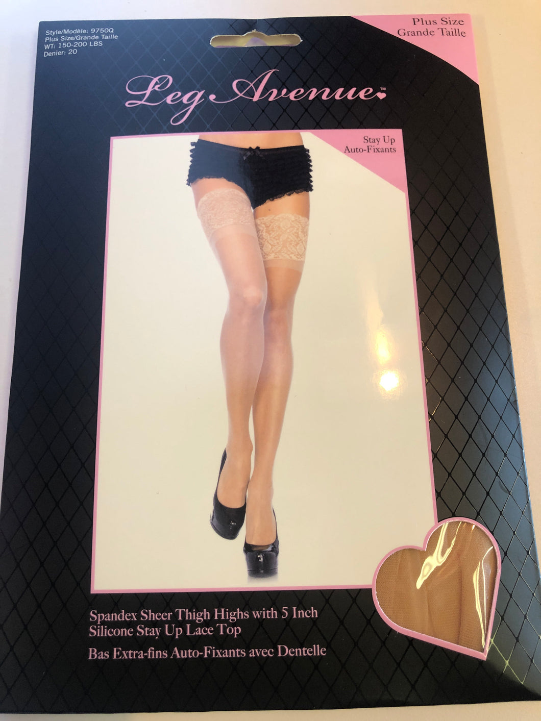 9750Q SPANDEX SHEER THIGH HIGH 5IN SILICONE STAY UP LACE BLACK PLUS