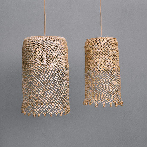 photo-of-Natural-coastal-boho-style-lighting-showing-a-small-and-a-medium-borneo-basket-light-shade-with-open-weave-and-ring-detail-at-the-bottom