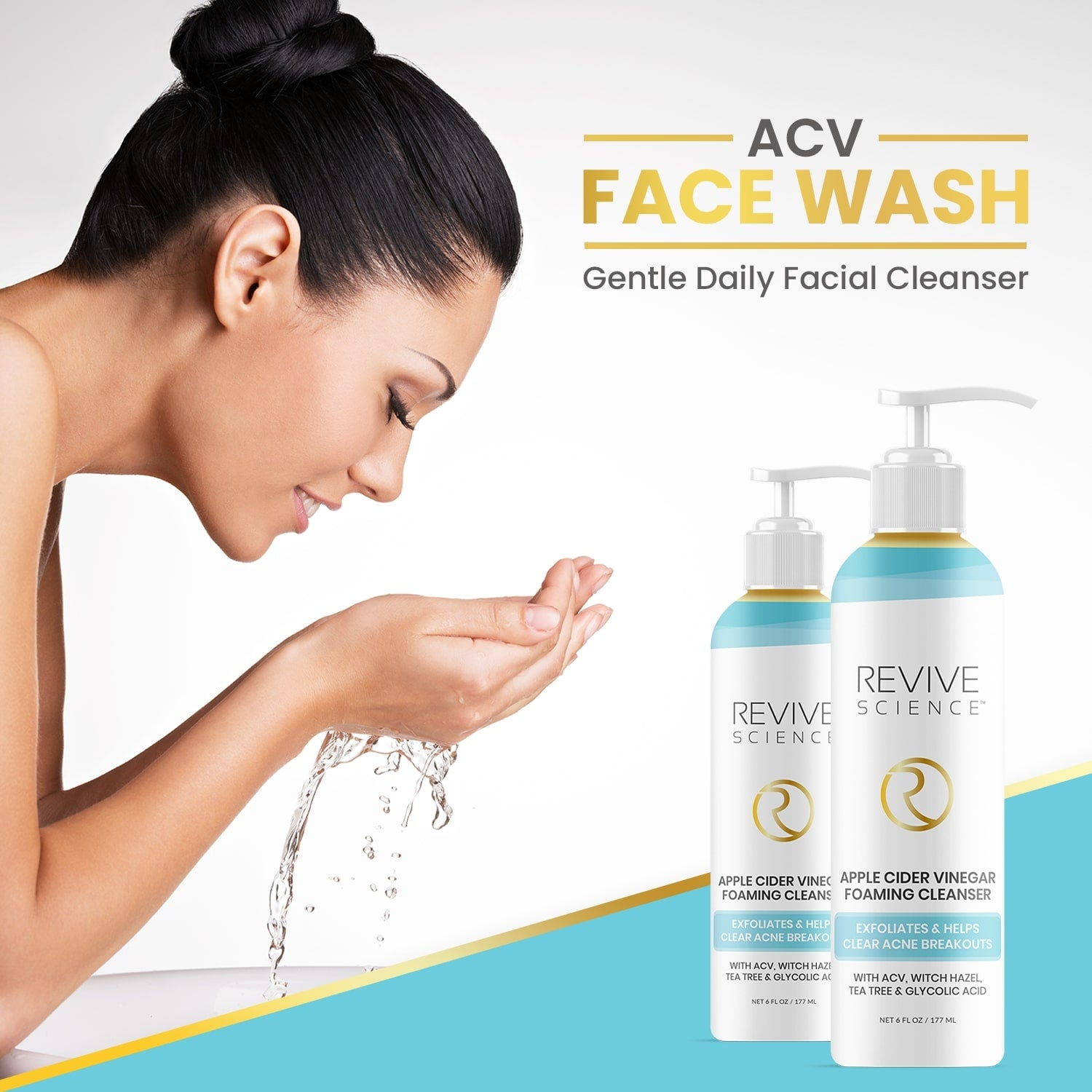 Revive Science Apple Cider Vinegar Exfoliating Face Wash - Foaming Facial Cleanser with AHA, Glycolic & Witch Hazel for All Skin Types- Helps Reduce Acne Breakout & Blackheads - Face Wash for Women & Men, 6oz