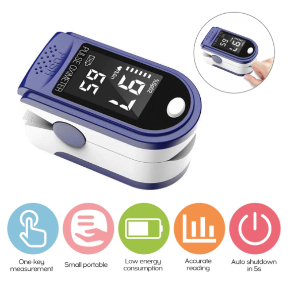 Pulse Oximeter Fingertip Device, Portable Blood Oxygen Saturation Monitor for Heart Rate and SpO2 Level, O2 Monitor Finger for Oxygen & Pulse with LED Display