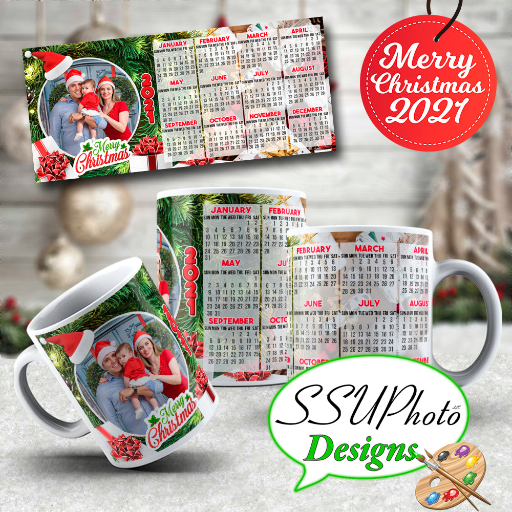 Customizable Winter Holiday 2021 Calendar Mugs with photo Collection