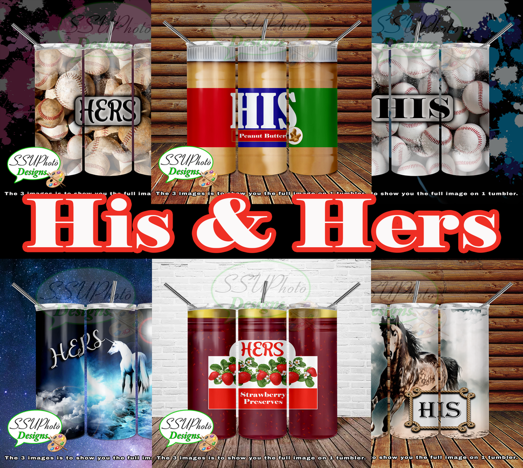 Hers and His Collection 20 OZ Skinny TumblerD Digital Design