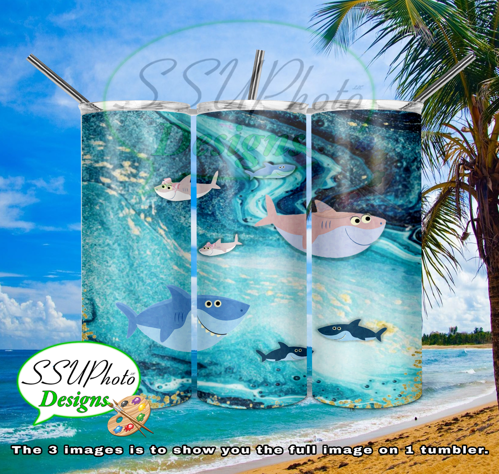 Fish 20 OZ Skinny TumblerD Digital Design
