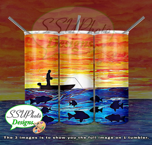 Fisherman 20 OZ Skinny TumblerD Digital Design